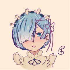 rem re anime digital art