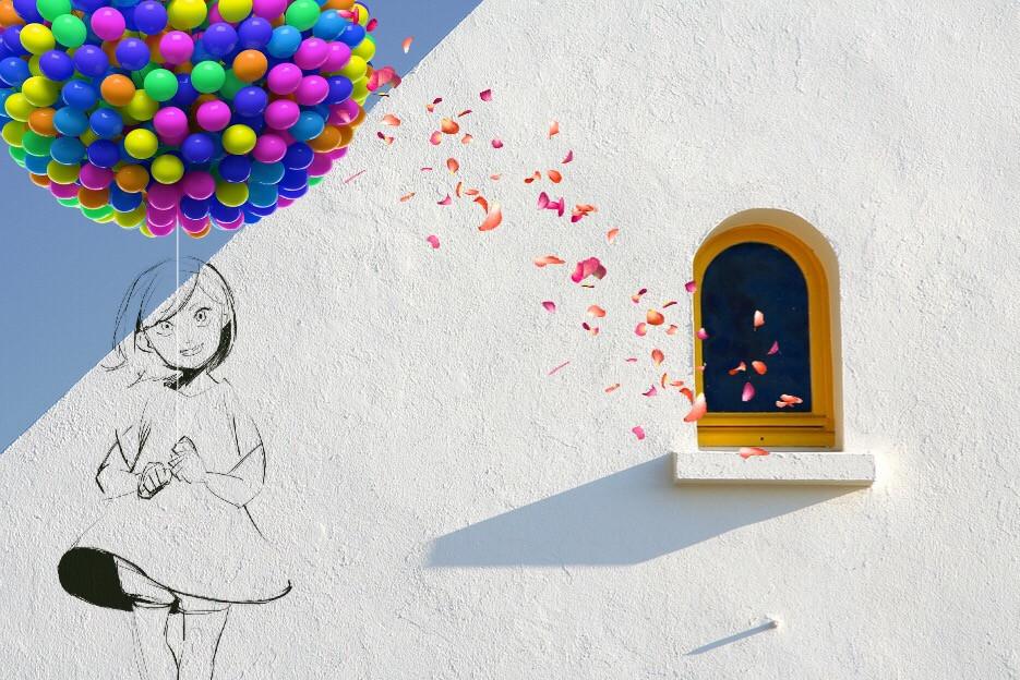 #FreeToEdit #girl #ballon #free #art #interesting  #colours #window #magic #remix #myedit #picsarteffects