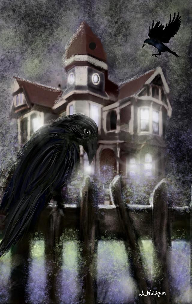 "#wdphauntedhouse  ""Crow Mansion""   #colorsplash  #haunted  #creepy  #old  #digitalart  #crow  #nighttime  #mansion  #dark  #draw 😊❤💚"
