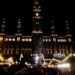 christmastime city cityhall lights coldnight