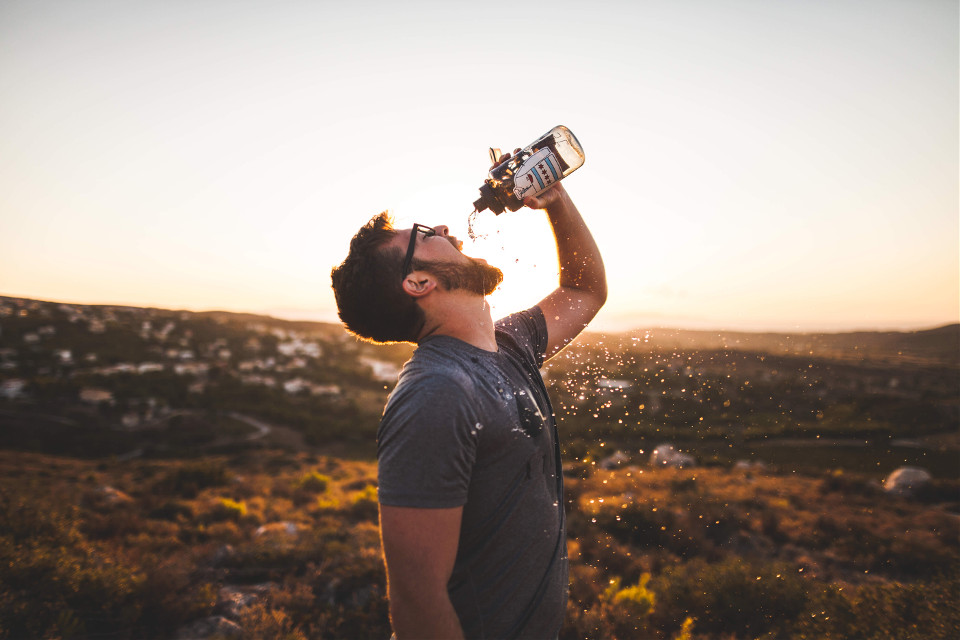Wake up, drink water, workout, give joy, be awesome. Life starts when you take the first step into your crazy imagination!   Courtesy of Unsplash (Public Domain) #FreeToEdit #human #landscape #field #nature #beauty #water #drink #pose